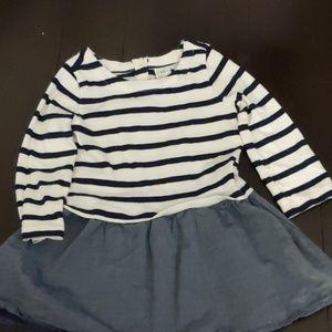 Gap white &blue chambray dress 18-24 months
